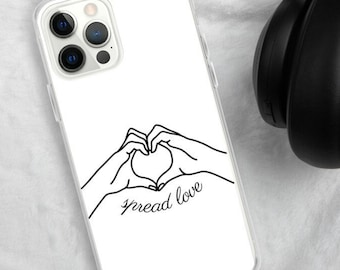 Spread Love Phone Case, iPhone 11 pro max, Samsung Galaxy Case, iPhone SE, iPhone XR, iPhone 8 Plus, iPhone 7, iPhone 12 mini, Line Drawing
