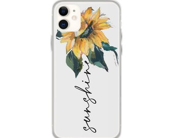 Flower Phone Case, iPhone 11 pro max, Sunflower Panting, iPhone 12 mini, iPhone XR, iPhone 8 Plus, iPhone 7, iPhone SE, Floral Phone Cases