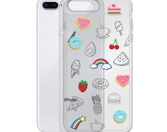 Clear Food Phone Case, iPhone 11 pro max, Cute Phone Case, iPhone SE, iPhone XR, iPhone 8 Plus, iPhone 7, iPhone 12 mini, Food Illustrations