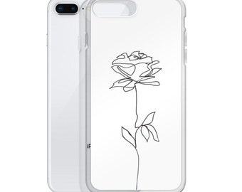 Rose Line Drawing Phone Case, iPhone 11 pro max, Flower Phone Case, iPhone SE, iPhone XR, iPhone 8 Plus, iPhone 7, iPhone 12 mini, Florals