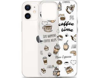 Clear Coffee Phone Case, iPhone 11 pro max, Fall Phone Case, iPhone SE, iPhone XR, iPhone 8 Plus, iPhone 7, iPhone 12 mini, Autumn Quotes