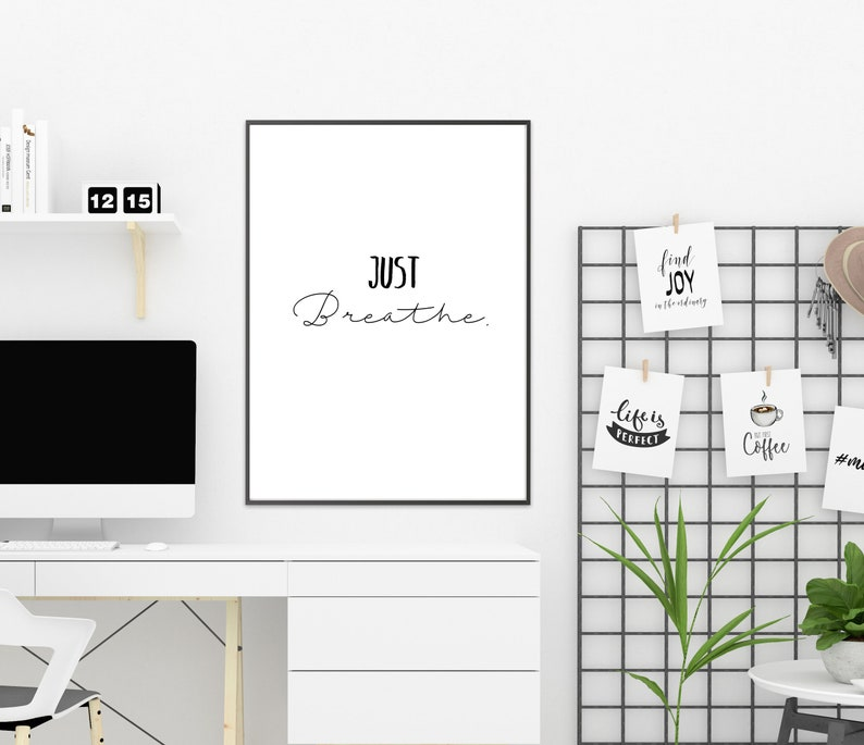 Amazing Cubicle Decor Office Desk Accessories Office Wall Art Boss Gift Black And White Art Boss Lady Inspirational Quotes Just Breathe Home Interior And Landscaping Pimpapssignezvosmurscom