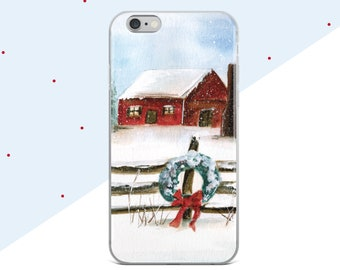 Christmas Phone Case, Winter Watercolor, Samsung Galaxy S8 Plus Case, Christmas Gift for Mom, iPhone 7 Case, iPhone 8 Case, Holiday Painting