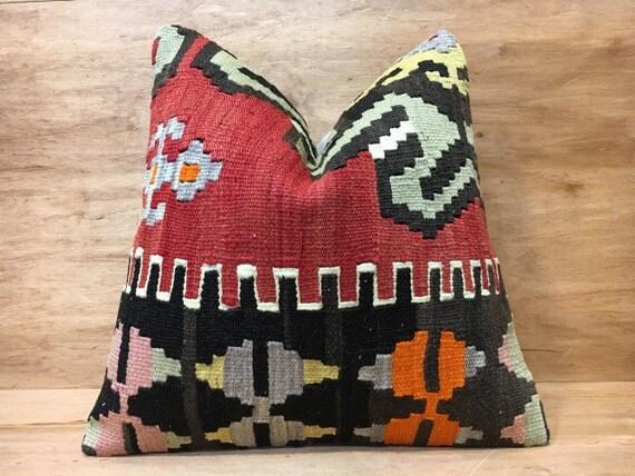 Kilim oreiller, coussin décoratif, vivant à domicile, home decor, 16 x 16, coussin tissé à la main, jeter coussin, oreiller accent, vintage oreiller, housse de coussin kilim