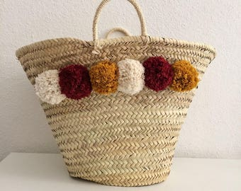 Basket of beach AMAIA with cotton tassels