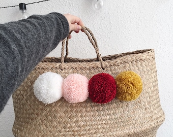Thai XL basket has colorful tassels