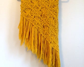 Crocheted Shawl in Mustard