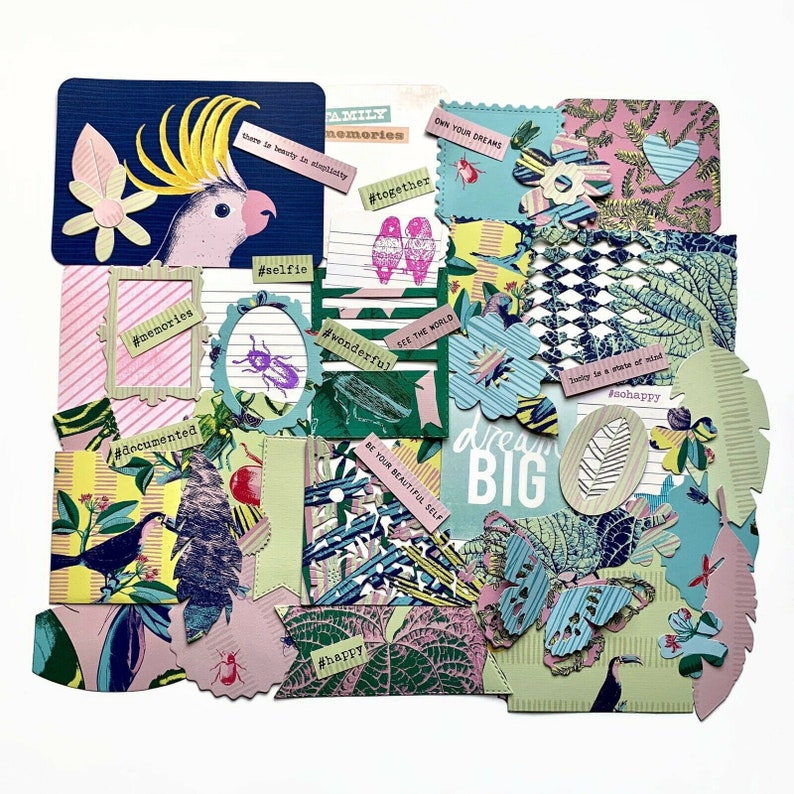 Junk journal kit scrapbook accessories handmade tropical paper embellishments set paradise scrapbooking ephemera vacation journaling kit