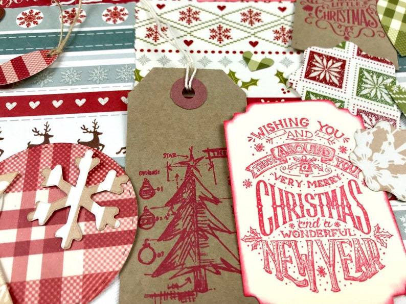 scrapbooking accessories ephemera pack Christmas junk journal kit scrapbook embellishments handmade Christmas journaling set