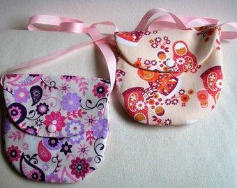 Girl's shoulder bag – cotton fancy flowers or dolls