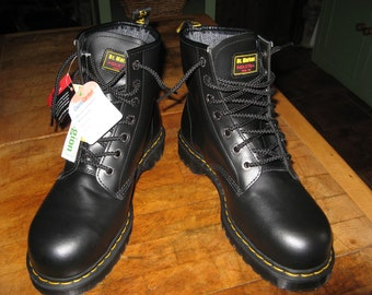 e38a14355e Black Leather Dr Martens Industrial Steel Toe Boots Size Uk 10 ~ EU 45 ~  USM 11 ~ USL 12 ~ Deadstock ~ Old New Stock ~ With Tags