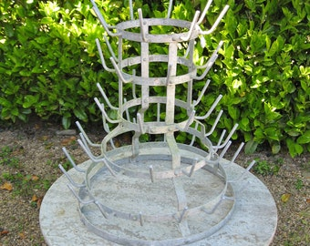 A Nice Old French Metal Champagne / Wine Bottle Drying Rack  / Herison / Egoutoir Great In A  Kitchen As Mug Rack
