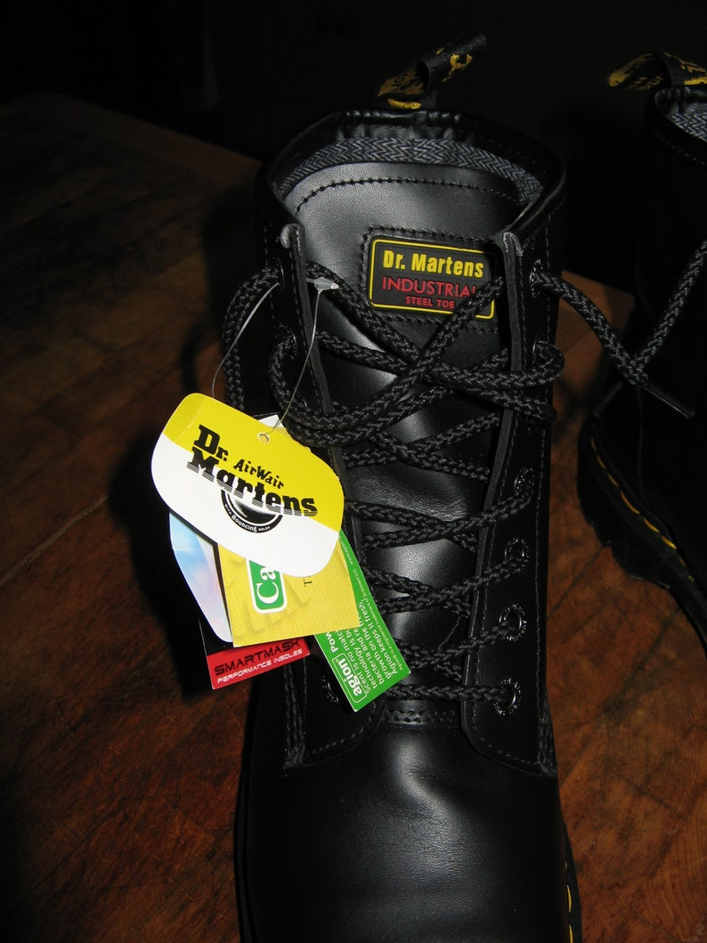 Black  Leather Dr Martens Industrial Steel Toe Boots Size Uk 10 ~ EU 45 ~ USM 11 ~ USL 12 ~ Deadstock ~ Old New Stock ~ With Tags