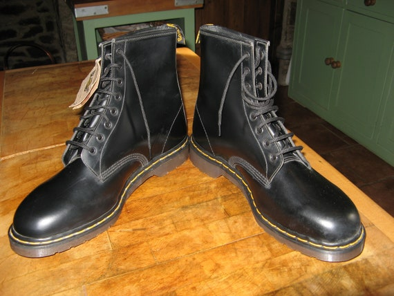 Rare Vintage Black  Leather Dr Martens  Boots Size UK 14 ~EU 49 ~ USM 15 ~ Deadstock ~Old New Stock ~With Tags ~ Made In England ~ Big Boots