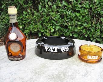 Three Vintage  Ashtrays Named  Vat 69 Finest Scotch Whiskey ,  Suze  And Benedictine Liqueur