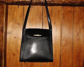 """A Very Good Vintage French """"Texier"""" Black Leather Bag/ Shoulder Bag"""