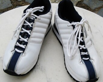 """A Good Pair Of Vintage """"Perry Ellis America"""" White Leather Casual Trainer Shoes ~ UK Size 9 ~ USA Size 10 ~ EU Size 44 ~ Pre Worn"""