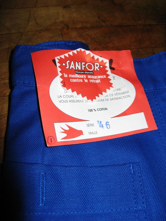 Vintage French Blue Work Wear/Trousers ~ Sanfor -