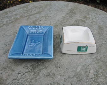 Two Vintage French  Pottery   Ashtrays Named  Gauloises  Longues And Ariel Menthole'es Cigarettes
