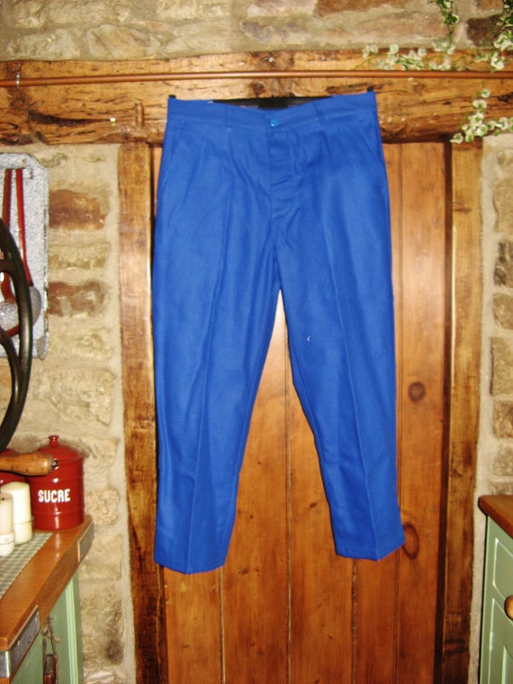 Vintage French Blue Work Wear/Trousers ~ Size 46 ~