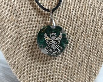 Malachite, Rose Quartz, and Pyrite Guardian Angel Orgone Pendant Necklace - Heart and Solar Plexus Chakras - Reiki, Meditation