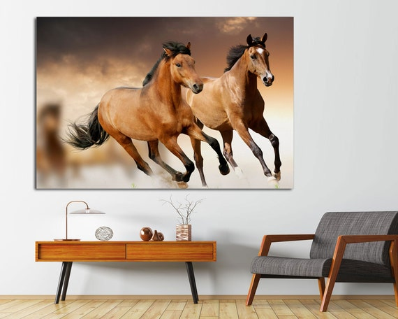 Mustang Stallion Horses Panoramic Picture Canvas Print Home Decor Wall Art