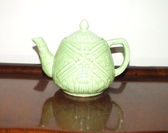 Price Bros Green Windmill Teapot 1940s Vintage