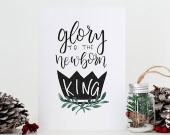 Christmas Card // Glory to the Newborn King // Hark the Herald // Christmas Carol Hand Lettering