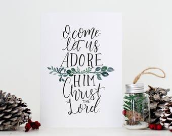 Christmas Card // Christmas Carol // O Come Let Us Adore Him // Hand Lettering
