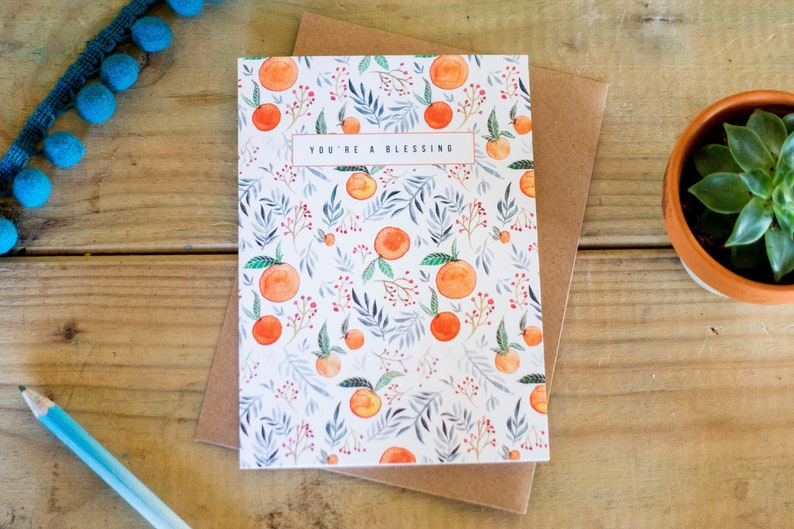 Greetings Card  You/'re a Blessing  Hand Painted Design  Encouraging Card  Blank Inside