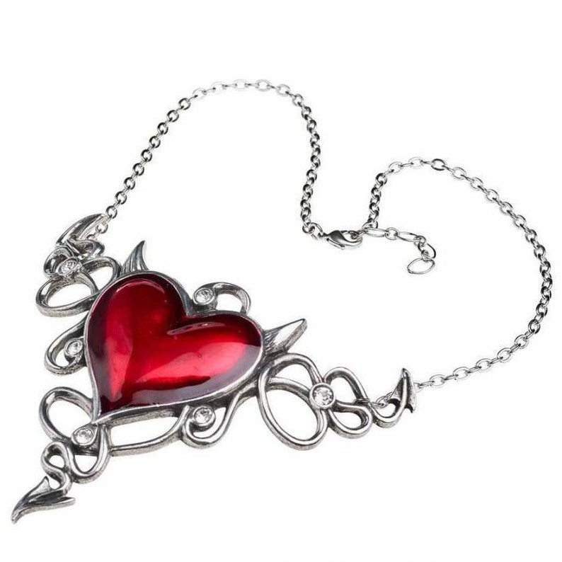 Devil Heart Genereux Necklace Made by Alchemy England Punk Gift Gothic Red Love Heart Demon Horns