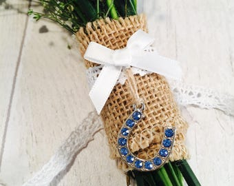 Wedding bouquet charm, something blue charm, flower charm, lucky charm