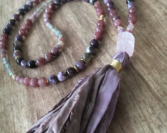 Loving Consciousness handmade gemstone mala meditation necklace