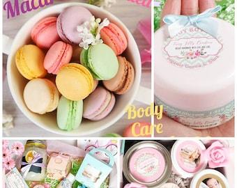 Body butter Macaroon scent | Hand cream |  Foot cream | Massage oil | Vegan Organic | Whipped body butter