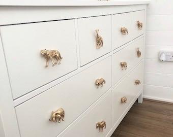 Safari animal furniture knobs / drawer pulls - Painted plastic toys.