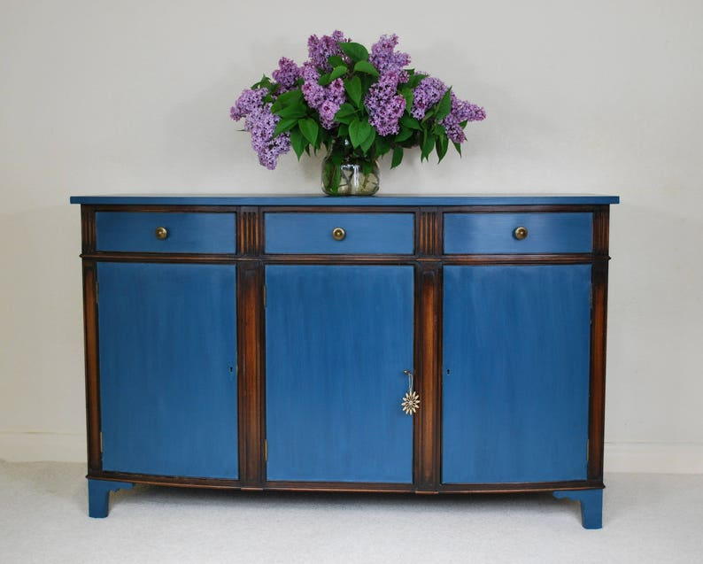 Sold Mahogany Sideboard Shabby Chic Annie Sloan Aubusson Blue Etsy