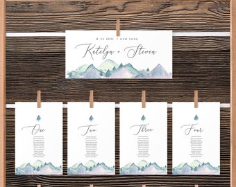 Mountain Seating Chart Template Download Editable Outdoor Seating Cards Wedding Seating Chart Template Seating Chart Sign C47 Templett