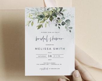 Bridal Shower Invitation Template, Editable, Printable Bridal Shower Invitation Card, Eucalyptus, Instant Download, Templett, FPE