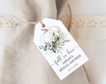 Greenery Bridal Shower Thank You Tags Printable Favor Tag, Templett, Instant Download, Eucalyptus, White Pumpkin, FPE