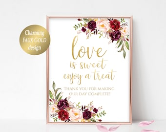 love is sweet please take a treat printable sign floral wedding decoration candy buffet sign instant download 4x65x78x10 marsala burgundy