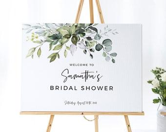 Eucalyptus Bridal Shower Welcome Sign, Printable Bridal or Baby Shower Decor, Instant Download, FPE