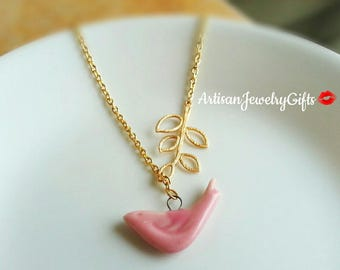 Pink Porcelain Sparrow Necklace Gold Branch Lariat Necklace Pink Bird Charm Necklace Gold Branch Necklace Mother's Day Gift For Her