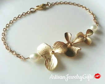 6c634f2c04 Gold Orchid Anklet Matte Gold Orchid Trio Pearl Anklet Orchid Ankle  Bracelet Bridal Anklet Christmas Gift For Her Bridesmaid Anklet