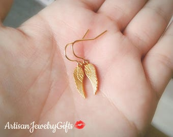 Tiny Gold Angel Wing Earrings Tiny Gold Feather Earrings Minimalist Earrings Tiny Gold Wing Earrings Boho Earrings Mother's Day Gift For Her