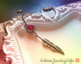 Hypo-Allergenic Silver Feather Belly Button Ring Pink Swarovski Crystal Belly Button Ring Navel Ring Bar Bell Bohemian Jewelry Belly Ring