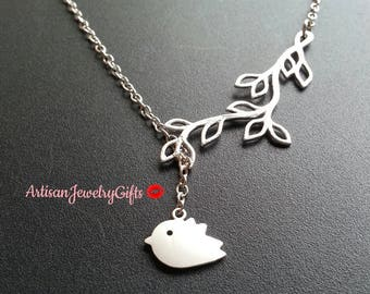 Silver Bird Necklace Silver Branch Necklace Silver Bird Branch Lariat Necklace Bird Charm Necklace Silver Sparrow Necklace Gift For Her