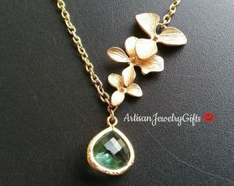 1e4d5fb9ca Aqua Gem Necklace Gold Orchid Trio Lariat Aqua Gemstone Necklace Gold  Orchid Necklace Bridal Necklace Bridesmaid Necklace Gift For Her