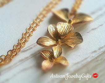 e29f462b25 Gold Orchid Trio Necklace Gold Orchid Necklace Bridesmaid Necklace Orchid  Charm Necklace Bridal Necklace Gold Orchids Necklace
