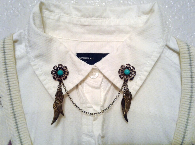 Daisy Dream Catcher Collar Pins Boho Sweater Clips Turquoise Daisy Dreamcatcher Sweater Pins Bohemian Collar Chain Brooch Hippy Lapel Pins