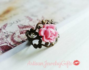 Pink Blossom Ring Antique Brass Lace Ring Flower Ring Antique Brass Filigree Ring Adjustable Ring